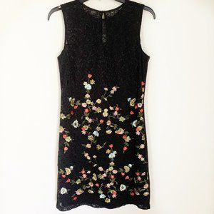 Karl Lagerfeld Black Lace Embroidered Floral Dress